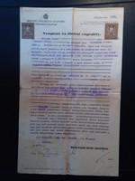 1928. Február 29. Budapest Nyugtató és törlési engedély 2db 1926-os 80f-es Illetékbélyeggel