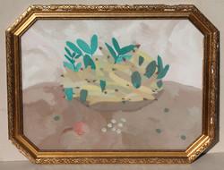 Ismeretlen modern festő, 20. század első fele: Gyümölcsös tál sárga-zöldben