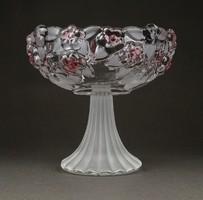 1F269 Walter glas talpas üveg asztalközép kínáló rózsaszín színezéssel 12.5 cm