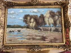 Frei szignóval ellátott olaj festmény, aranyozott keretben