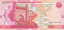 Üzbegisztán 2000 szom, 2021, UNC bankjegy