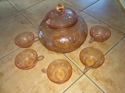 Antik rózsaszín üveg bólés szett antique pink glass set