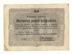 1849 es 30 pengő krajczárra Kossuth bankó papírpénz bankjegy 48 49 es szabadságharc pénze sor wwf