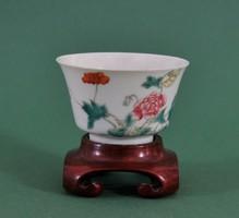 Nagy antik kínai kézzel festett Guangxu csésze, 19. század