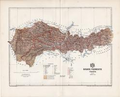 Kolozs vármegye térkép 1894 (1), lexikon melléklet, Gönczy Pál, 23 x 29 cm, megye, Posner Károly