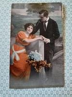 Régi fotó képeslap 1921 szerelmespár levelezőlap
