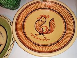 Gyönyörű patinás régi kakasos tányér