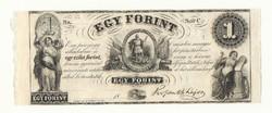 1852 egy forint Kossuth bankó papírpénz bankjegy amerikai kiadás szabadságharc pénze 1 forint