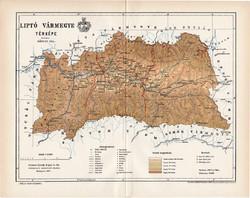 Lika - Krbava vármegye térkép 1895 (3), lexikon melléklet, Gönczy Pál, 23 x 29 cm, megye, Posner K.