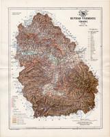 Hunyad vármegye térkép 1894 (3), lexikon melléklet, Gönczy Pál, 23 x 29 cm, megye, Posner Károly