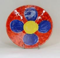 1F409 Jelzett retro piros kék sárga retro kerámia falitál 28.5 cm