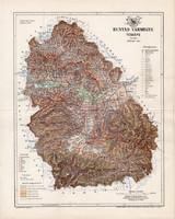 Hunyad vármegye térkép 1894 (2), lexikon melléklet, Gönczy Pál, 23 x 29 cm, megye, Posner Károly