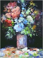 Virágok, olajfestmény.