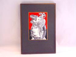 Szász Endre sorszámozott porcelán kép 17x11,5 cm + keret