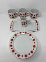 Alföldi Centrum Varia piros pöttyös napocskás porcelánok - Tányér, bögre, csésze, kiöntő, kínáló