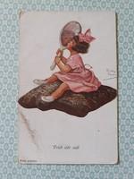 Régi képeslap kislány művészi levelezőlap