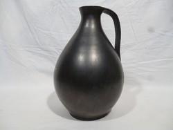 5140 Régi díszes fekete cserép füles korsó váza