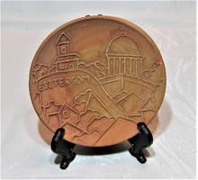 Maurer Katalin - kerámia falitányér, falidísz - Esztergom  - 12 cm