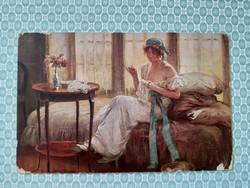 Régi képeslap 1918 Edouard Gelhay művészi levelezőlap