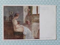 Régi képeslap 1918 Wiener Kunst művészi levelezőlap