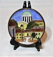 Maurer Katalin - kerámia falitányér, falidísz - Esztergom  - 10 cm