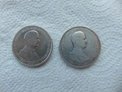 2 darab ezüst Horthy 5 pengő 1930 LOT !