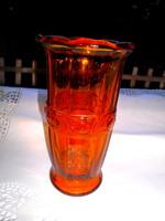 Art deco borostyán színű régi   üveg  váza