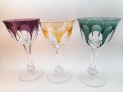 Moser színes talpas kehely poharak 3 db
