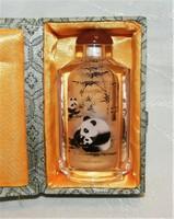 Parfüm tartó - Panda Mackós - Különleges belülről festett  üveg