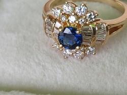 14k  s arany gyűrű brii/zafir
