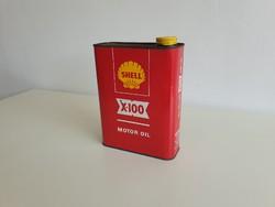 Régi retro Shell X100 olajos fém kanna pléh doboz reklám fémdoboz 2,5 L