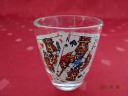 Üveg pálinkás kupica, magyar kártya matricával, magassága 5 cm.