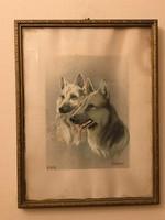 Antik , kutyákat ábrázoló festmény Komáromi 937-938 szignóval .