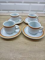 Alföldi porcelán sárga, barna csíkos mokkás, kávés csésze és csészealj