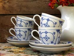 Szalmavirág dekoros, máz alatti festésű porcelán csésze szettek, Kalk Porzellan Thüringia
