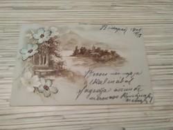 Antik Üdvözlő képeslap. Kézzel varrott.