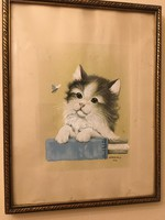 Kenderessy 937 szignóval antik cicát ábrázoló festmény .