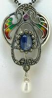 Tanzanit, rubin  drágaköves   sterling ezüst /925/medál -  kitűző,bross--új