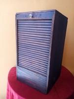 Antik redőnyös / rolós  irodai kis szekrény 50 x 28 x 28 cm.
