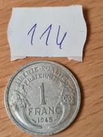MINDEN FÉMPÉNZ 50 FT!!! FRANCIA 1 FRANC FRANK 1945 #114
