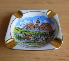 Olaszország San Martino di Castrozza emlék aranyozott porcelán dísz hamutál  8*8 cm (1/p)