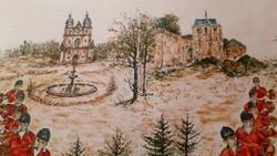 Retró! Francia vadász jelenetes terítő, abrosz, Loire-völgyből, Amboise-ból (nagy!)