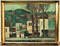 Szentgyörgyi Kornél (1916 - 2006) Utca részlet c. Képcsarnokos olajfestménye EREDETI GARANCIÁVAL