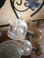 Fém + csiszolt adagolós lopó - dekantáló + 4 pohár - származási hely Anglia