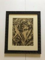 Ruzicskay György (1896-1993)Munkácsy Mihály-díjas festő 'Illusztráció a szerelem keresőből' Algaráfi