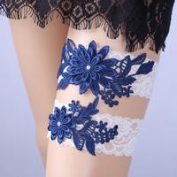 Esküvői, menyasszonyi harisnyakötő szett  ES-HK01-2 sötét kék