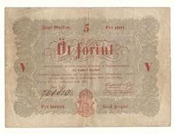 1848 as 5 forint Kossuth bankó papírpénz bankjegy 48 49 es szabadságharc pénze piros