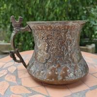 Perzsa figuràlis-kakas fogó, Kézzel kalapàlt, ezüstözött valamikor ! XIX.szàzad
