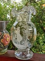 Antik Mary Gregory üveg kancsó