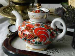 Lomonosov porcelain coffee jug, pouring, rooster
